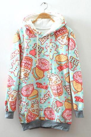 Harajuku Cream dessert cartoon fleece hoodie