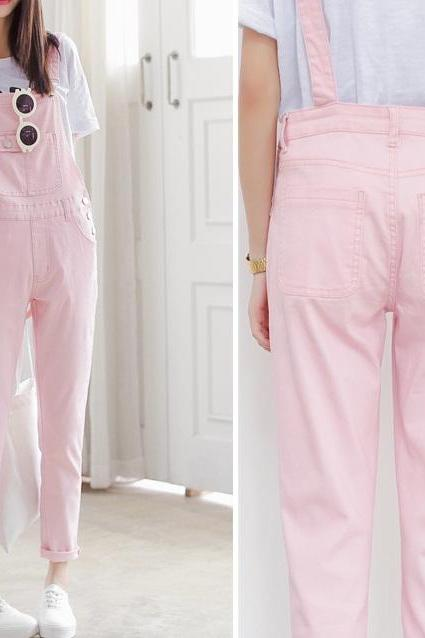 Harajuku (XS-XL) candy colors denim piece pants overalls trousers