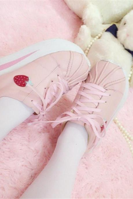 Lolita White/Pink Strawberry Platform Shoes